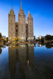 Mormons Temple in Salt Lake City. Reflection  of the Mormons Temple in  downtown Salt Lake City, Utah Royalty Free Stock Image