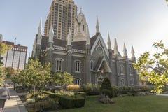 Mormonu zgromadzenie Hall, świątynia kwadrat, Salt Lake City obraz stock