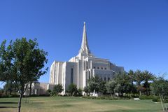 Mormoons Gilbert Arizona Temple In Gilbert Arizona stock afbeelding