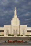 Mormoonse Tempel in de Dalingen van Idaho, identiteitskaart Royalty-vrije Stock Afbeeldingen