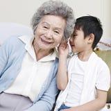 Mormor och sonson Arkivfoto