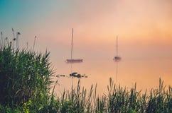 Morning有雾的湖风景 免版税图库摄影