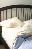 Morning. Turned-down sheets on bed Stock Photo