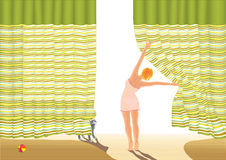 Morning. Happy morning the girl pulls back the curtain at the window  vector illustration Stock Photography