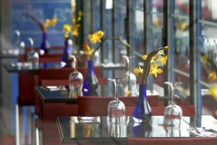Morning. Picture of cafe taken in Paris, France Stock Photos