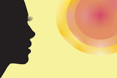 Morning!. Drawing, profile black women looking at the sun Royalty Free Stock Photography