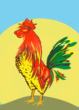 Morning. Illustration raster, red and yellow rooster on the background of the sun Royalty Free Stock Photography