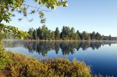 Morning. Lake in sunny pine forest in Killarney Park, Ontario Stock Photos
