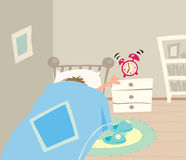 Morning. Poor sleepy man trying to turn off the alarm clock in his bedroom Stock Photography