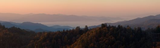 Morning Above the Clouds Panorama. An autumn sunrise high in the Smoky Mountains Nat. Park, USA. Stitched panorama of ~17 Megapixels stock photos