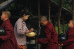 Morning activities of the monk Myanmar stock photos