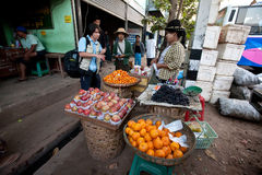 Morning activities at the Yangon bus station Royalty Free Stock Photography