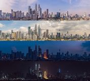 Morning afternoon Evening Night. Four time of day. Kuala Lumpur skyline, view of the city, skyscrapers with a beautiful. Sky royalty free stock photography