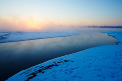 Morning air and river in winter Stock Photo