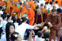 Morning alms-offering to 12600 Buddhist monks Stock Image