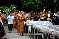 Morning alms-offering to Buddhist monks Royalty Free Stock Images