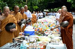 Morning alms-offering to Buddhist monks Stock Image