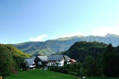 Morning in Alps. House in Triglav National Park in Slovenia Stock Photography