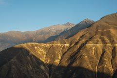 Morning Andes landscape. With clear blue sky stock images
