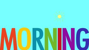 Morning animated text with sun animation image