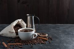 Morning with aromatic black coffee royalty free stock photos