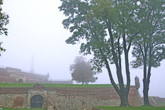 Morning autumn fog in Belgrade fortress Kalemegdan Royalty Free Stock Photo