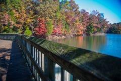 Morning Autumn. Lake view on the little bridge Royalty Free Stock Photo