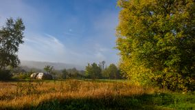 Morning autumn landscape on a meadow in the countryside. Amazing beautiful landscape. Ukraine. Europe royalty free stock image