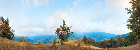 Morning autumn mountain panorama Stock Photography