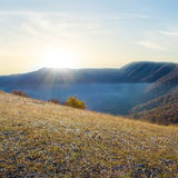 Morning autumn mountain valley scene Stock Image