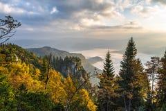 Morning in autumn mountains Stock Photo
