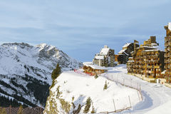 Morning in Avoriaz, France. Morning view of the village of Avoriaz standing on the precipice, and the surrounding area mountains Stock Photography