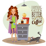 Morning Awakening With Cup Of Coffee. Morning awakening cartoon vector illustration with young girl pouring coffee into cup coffee machine and cat Stock Photos
