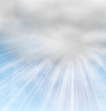 Morning Background with Fluffy Clouds. Illustration Morning Background with Fluffy Clouds and Sunny Beams - Vector Royalty Free Stock Photo