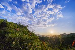 Morning in Badaling. At the weekend, the sunrise was filmed in Badaling Forest Park, with pink flowers and green bushes dotting the foreground. The scenery was royalty free stock image