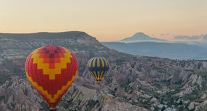 Morning balloon ride over Cappadocia royalty free stock photo