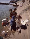 A morning bath at Asi ghat  in the Ganges Royalty Free Stock Image