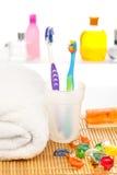Morning bathroom procedures Stock Photos