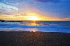 Morning beach. Beautiful sunrise on the morning beach Royalty Free Stock Photo