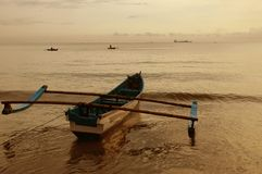 Morning in beach. In the morning beach cilacap, central java,indonesia, other angle Stock Photo