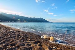 Morning on the beach in Becici, Montenegro Stock Images