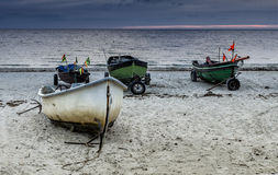 Morning on the beach of fishermen village, Latvia Stock Photos