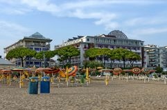 Morning at beach in Lido di Jesolo, Italy Royalty Free Stock Image