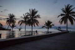 Morning beach. Morning swim in the pool. Stock Image