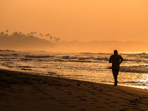 Morning beach. A person commits a morning jog on the beach Stock Photography