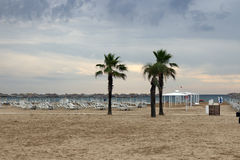 Morning on the beach Rimini Royalty Free Stock Images