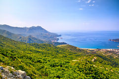 Morning beach with sea and mountain views. Montenegro Stock Images