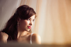 Morning of beautiful bride in the bed Royalty Free Stock Photo