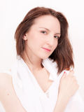 Morning beauty. Beautiful brunette portrait in silk white scarf Stock Photos