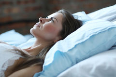 Morning in bed. Beauty. Beautiful woman in lingerie Royalty Free Stock Image